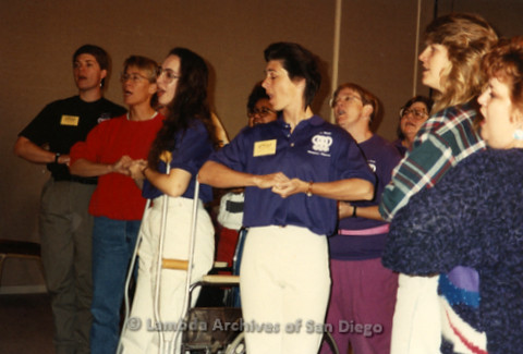 """""""The Magic Music Makes"""" San Diego Women's Chorus (SDWC) first choral festival with Sister Singers 1991: SDWC Rehearsing, Deanne Gauthier (far right)"""