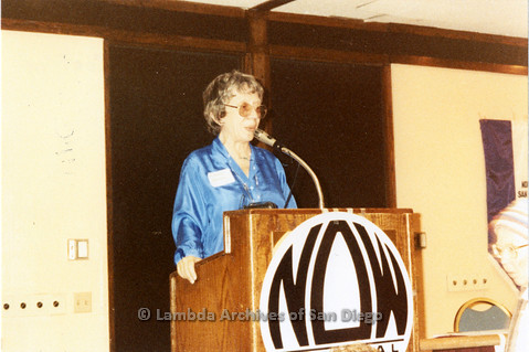 National Organization for Women, Susan B. Anthony Awards 1992: Gloria Johnson President of San Diego NOW speaking at podium.