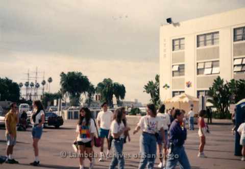 P197.025m.r.t AIDS Walk San Diego 1992: Crowd of people in parking lot including Executive Director Barbra Blake