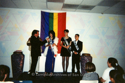 P240.030m.r.t Gay Teen San Diego: Miss Gay Teen San Diego speaking into microphone.