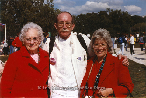 Jess Jessop (center), his mother Ida Jessop (left), and his sister Gail Chervon (right) at the Names Project Quilt in Washington D.C. 1987