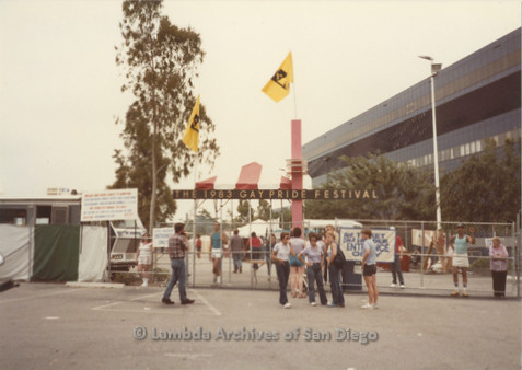 P018.005m.r.t San Diego Pride Festival 1983: People at gate to the festival