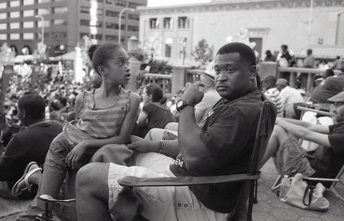 father and daughter at a jazz concert