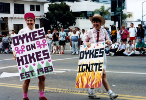 San Diego Pride Parade July, 1992: Diane Germain (left) and Pam Gusha (right)