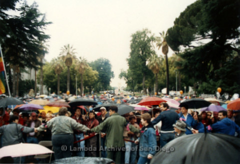 P019.110m.r.t March on Sacramento 1988 / Pre Parade gathering: Large group of people standing with umbrellas blocked off by a rope and a line of people holding hands