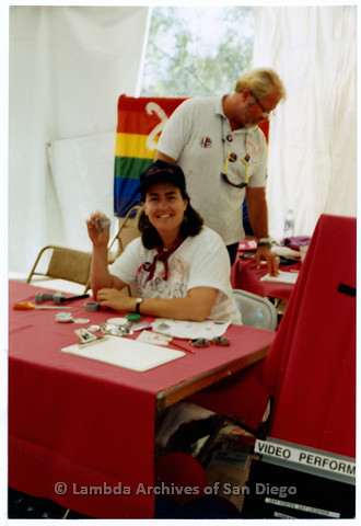 P200.014m.r.t San Diego Pride Festival 1992: Laura Opfer and Jim Oberle inside Lambda Archives tent