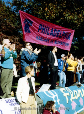 """P019.259m.r.t Second March on Washington 1987: Several protesters holding a banner that reads: """"PHILADELPHIA MARCHES ON WASHINGTON"""""""