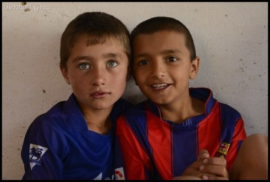 Tusion, Tajik Pamir, Muiz (right) a very smart young boy with a cousin having eyes of an incredible blue colour which may be unusual even in Europe. Both are Abduraim's grand son. © Bernard Grua