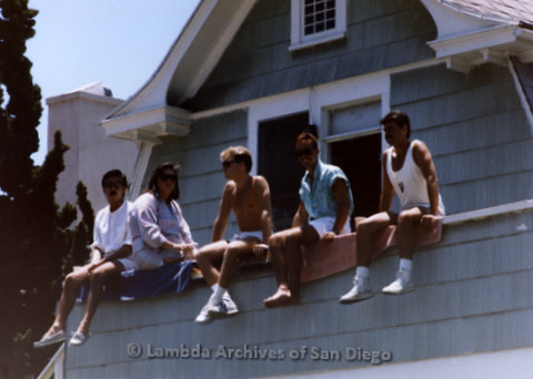 San Diego Lambda Pride Parade: Six Gay Men Watch the Parade From a Second Floor Balcony of an Apartment on Fifth Avenue in Hillcrest.