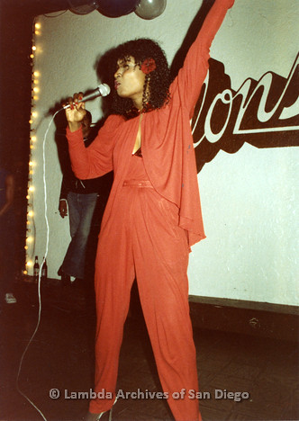 1982 - Mr. Dillons Gay Men's Dance Club: Bill Hammon performing.