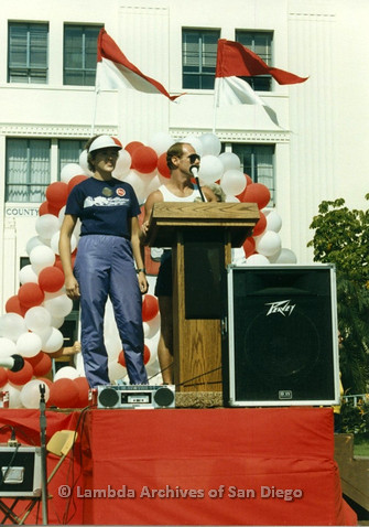 P012.009m.r.t San Diego Walks for Life 1986: Front Runners present check at podium