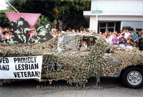 P018.089m.r.t San Diego Pride Parade 1991: Gay and Lesbian Veterans car
