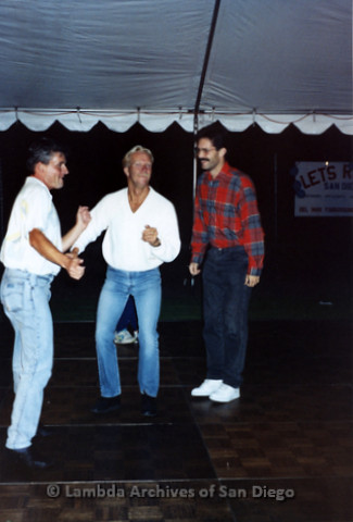 San Diego LGBTQ Pride Festival, July 1995: Merle Johnson (center) and other men dancing on the dance floor
