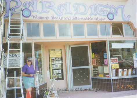 """P167.071m.r.t Paradigm Women's Bookstore: Completed """"Paradigm-Women's Books and Alternative Music"""" painted sign"""