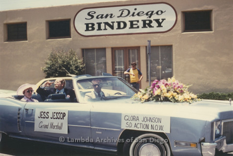 P018.001m.r.t San Diego Pride Parade 1977: Pride Co-Grand Marshalls Jess Jessop and Gloria Johnson