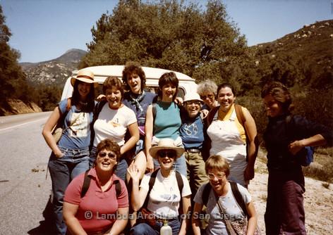 P008.007m.r.t Oakzanita Peak - Cuyamaca 1983: Group photo before hike with Margaret Lewis, Diane Hammer, Kathleen Gilbraith, Diane F. Germain, and Linnea