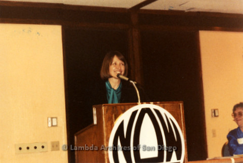 National Organization for Women, Susan B. Anthony Awards 1992: Woman Speaking on stage.