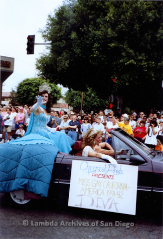 P018.067m.r.t San Diego Pride Parade 1991: Miss Gay California-America (1991-92)'s car