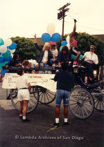 P018.098m.r.t San Diego Pride Parade 1991: Cinderella Carriage Company carriage