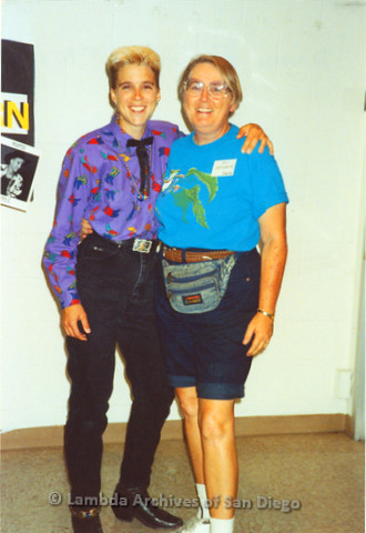 """Donna E"" Lesbian Country Western Dance Instructor (left) and Sheila Clark Shirtails Dances Co-Producer (right) at a Shirtails Country Western Theme Dance."