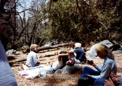 P008.022m.r.t Mt. Palomar 1983: Lunch break at Asher's cabin with Jan, Margaret Lewis, and Ann Ramsey