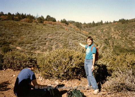 P008.105m.r.t Laguna Mountains November 1984: Toni showing the hillside, Mary Russell sitting