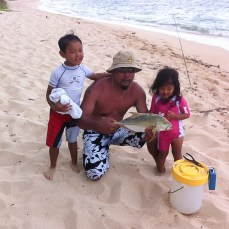 Allan with his niece and nephew. Secret fishing spot.