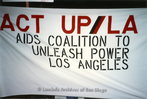 """P019.332m.r.t Los Angeles """"Die In"""" 1988:  Banner that reads: """"ACT UP/LA  AIDS COALITION TO UNLEASH POWER LOS ANGELES"""""""