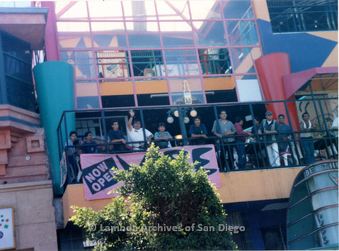 P018.137m.r.t Tijuana Pride Parade 1996: People watching parade from Vibe bar balcony