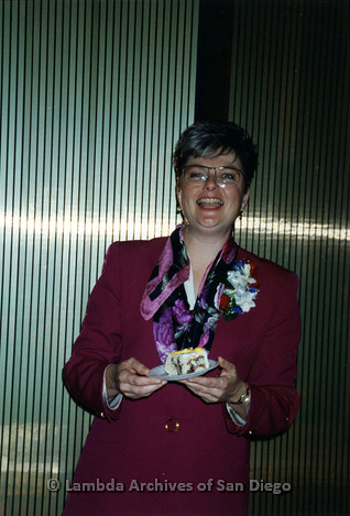 Christine Kehoe smiling at her City Council Inauguration at the San Diego Concourse in 1993.