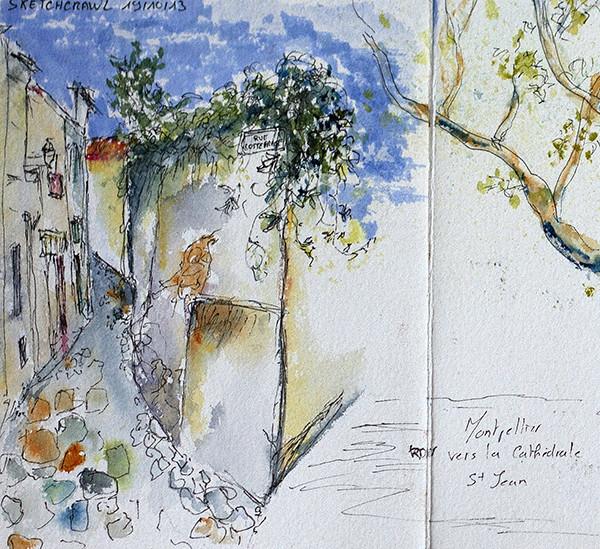 Sketchcrwal 19/10/2013 Montpellier quartier cathédrale St Jean