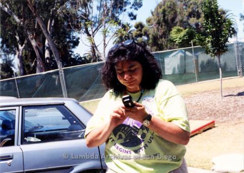 P018.148m.r.t San Diego Pride Festival 1998: Cheli Mohamed volunteering