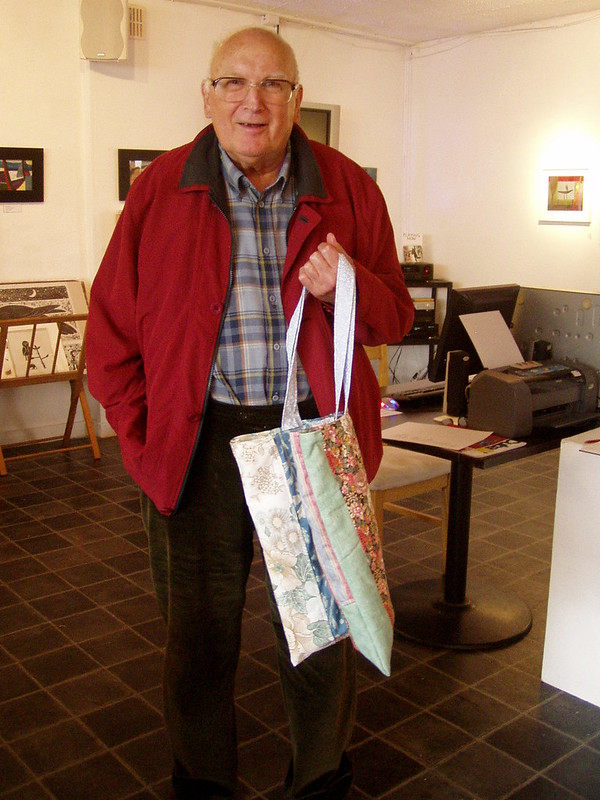 John Chambers with bag I made - 'like his paintings'