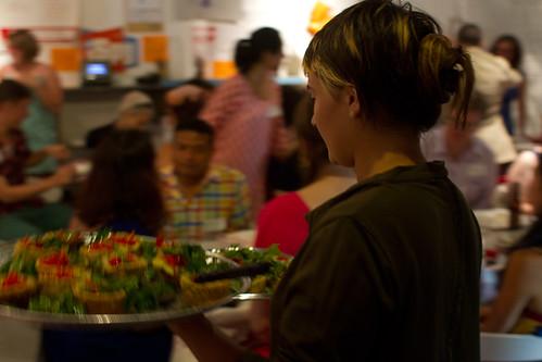 An amazing team of volunteers served dinner