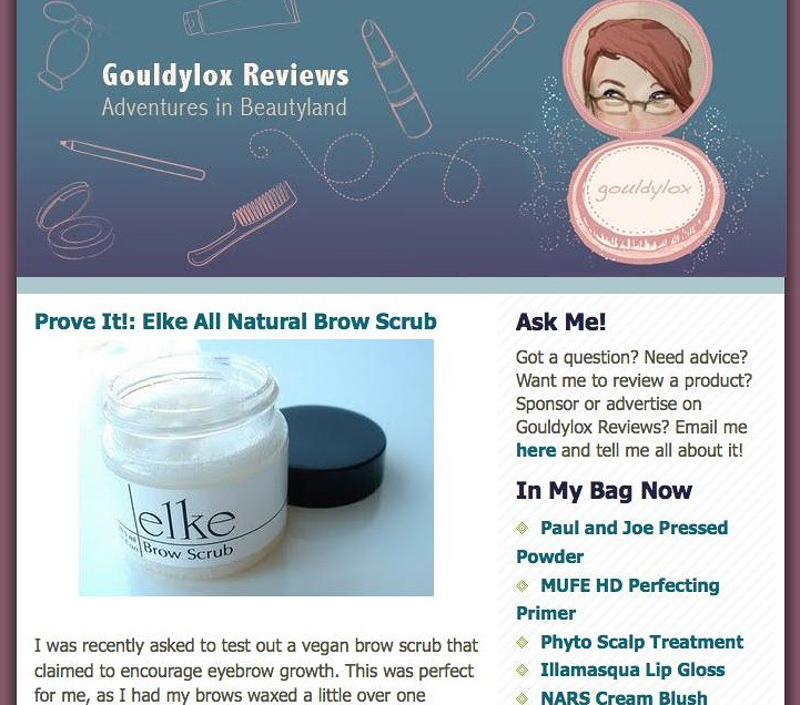 Gouldylox Review on Elke's All Natural Brow Scrub