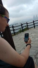 Watching Korean TV on Mischa's new phone