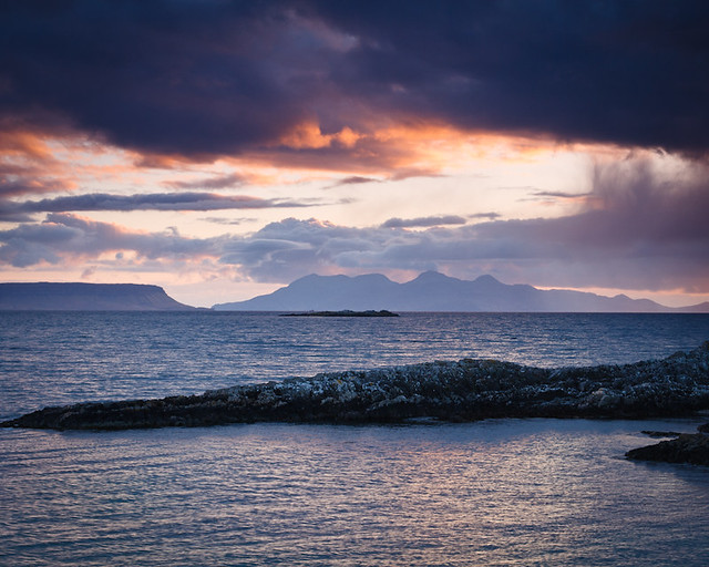 Approaching Sunset over Eigg and Rum