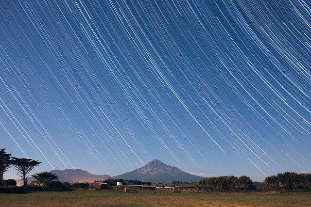 Star trails over Mt Taranaki