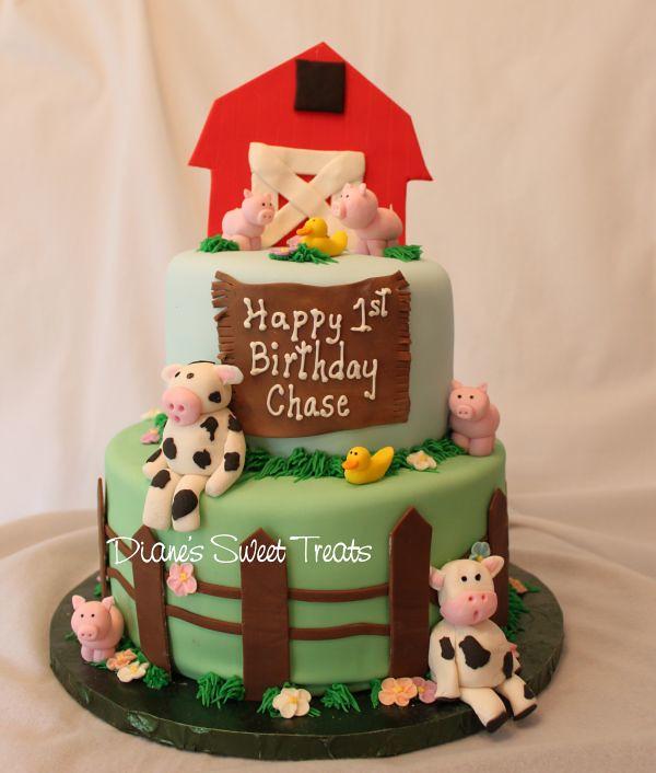 Farm Cake 1st Birthday Farm Animals Modeled From