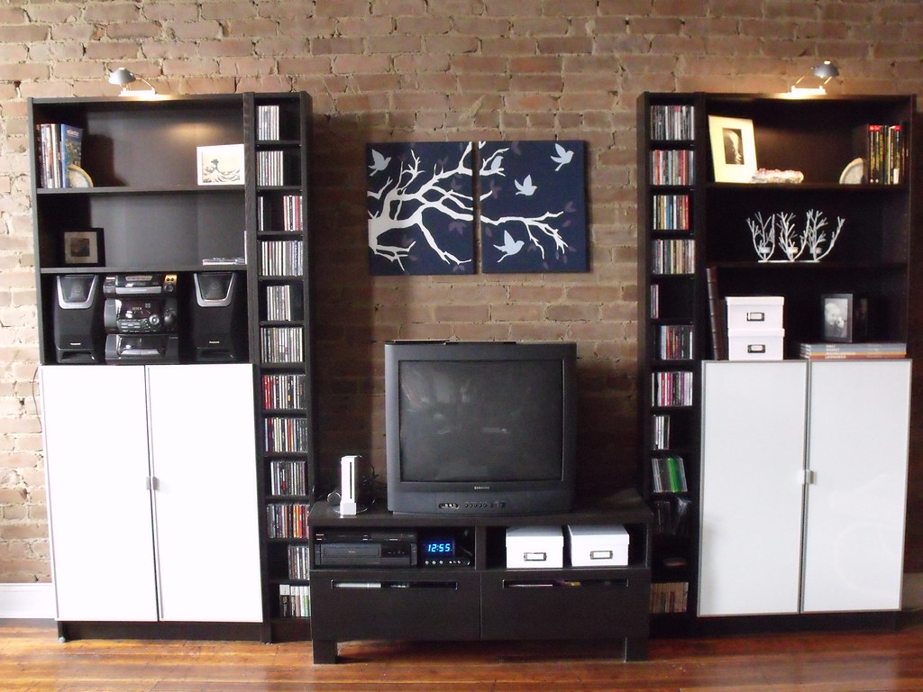 Entertainment Center Two Ikea Billy Bookcases In Black Bro