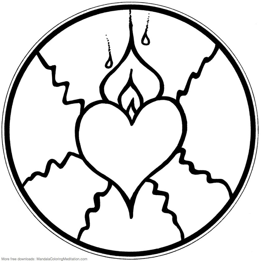 printable children coloring page fire heart mandala  flickr