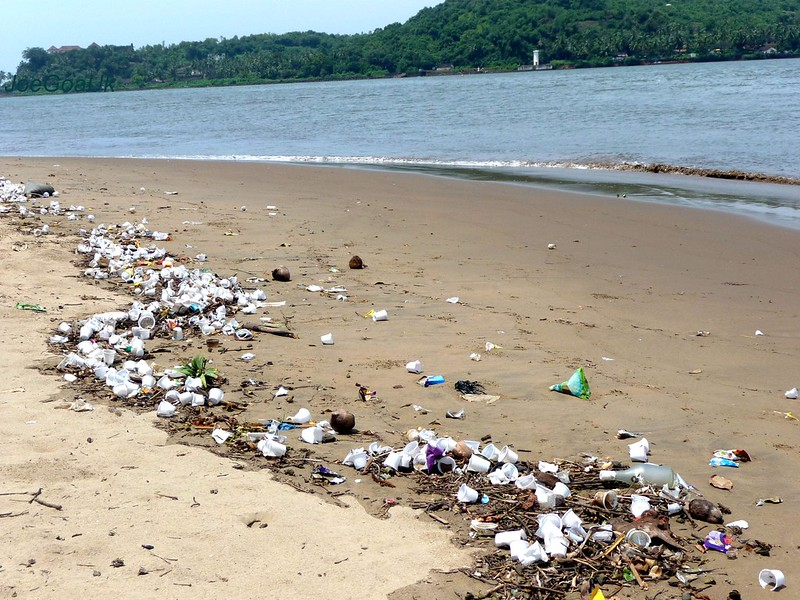 Plastic garbage thrown ashore all over Campal beach