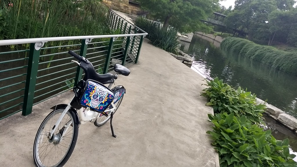 Bike-Share Bike on the Riverwalk Trail in San Antonio