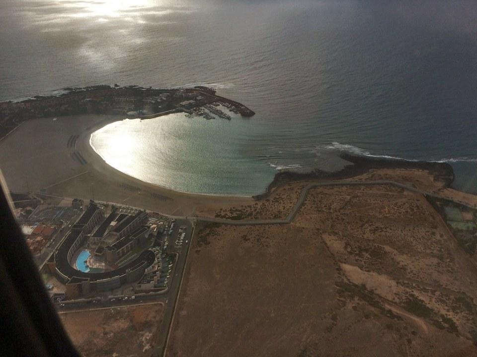 Vista desde el cielo Castillo Caleta de Fuste isla de Fuerteventura