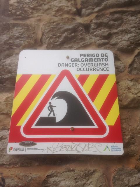 Beach warning sign in Portugal