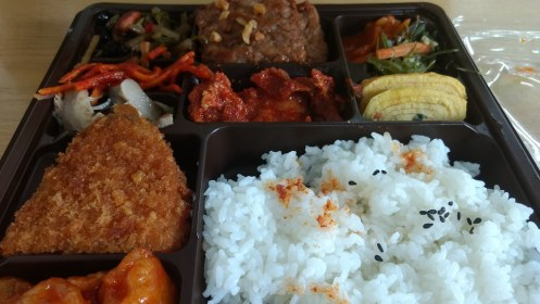 Bento-like box in 7-11, cheapest food we could find!