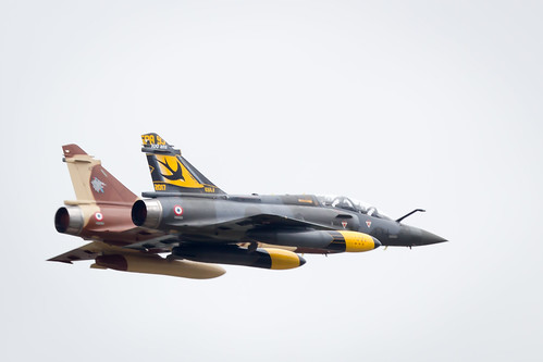 The French Air Force Couteau Delta Mirage 2000 Display team at Fairford International Air Tattoo 2017