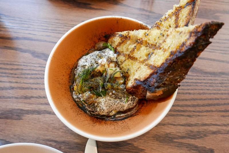 Burrata, Sunchoke Conserva, Leek Ash, Sourdough ($14)