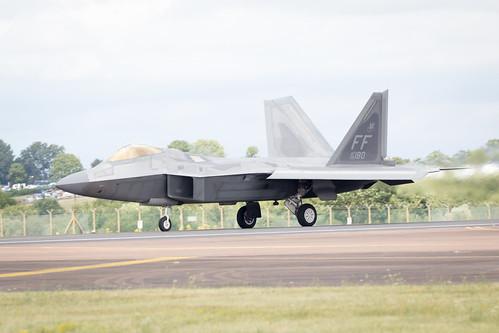 Lockheed Martin F-22 Raptor performing at Fairford International Air Tattoo 2017