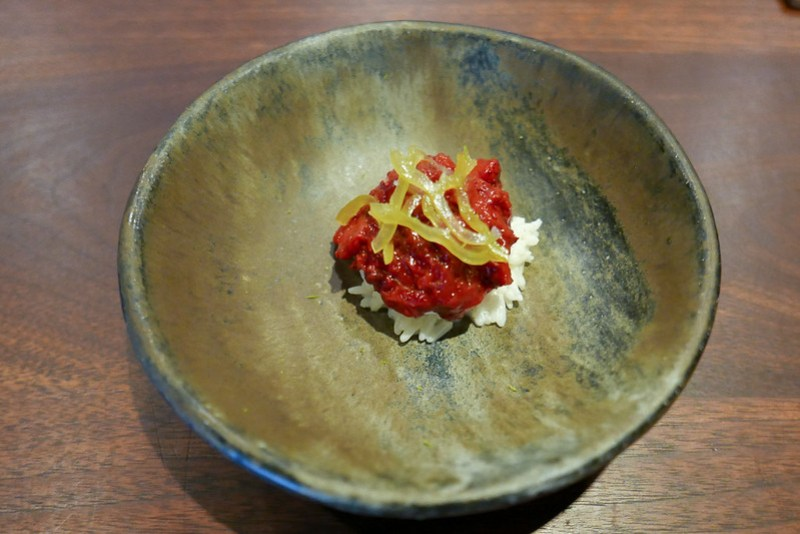 Jasmine Rice, Macerated Strawberry, sSweet Pickled Pepper, Vanilla